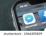 Small photo of Sankt-Petersburg, Russia, April 11, 2018: Facebook messenger application icon on Apple iPhone X screen close-up. Facebook messenger app icon. Online internet social media network. Social media app