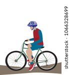 a teenager with a helmet ride a ... | Shutterstock .eps vector #1066328699