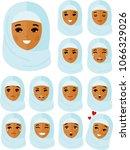 set of different avatar arab... | Shutterstock .eps vector #1066329026