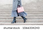 woman in gray boots and a pink... | Shutterstock . vector #1066334243