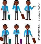 set of businessman traveler... | Shutterstock .eps vector #1066337690