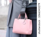 pink bag and scarf in female... | Shutterstock . vector #1066343279