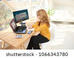 thinking businesswoman working...   Shutterstock . vector #1066343780