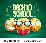 smiley characters and back to... | Shutterstock .eps vector #1066356809