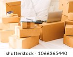 pile of cardboard box and... | Shutterstock . vector #1066365440