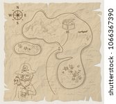 pirate treasure map of the... | Shutterstock . vector #1066367390