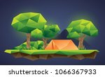 low poly forest camp floating... | Shutterstock .eps vector #1066367933
