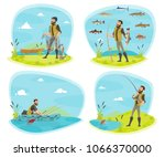 Fishing Icon Set With Fisherma...