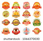 fast food label set of american ... | Shutterstock .eps vector #1066370030