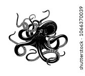 octopus black silhouette of sea ... | Shutterstock .eps vector #1066370039