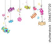 hanging colorful sweet candy.... | Shutterstock .eps vector #1066373720