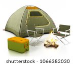 camping tent  seats  fire and...   Shutterstock . vector #1066382030