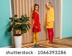 women in bright clothing... | Shutterstock . vector #1066393286