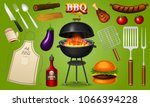 barbecue grill elements set... | Shutterstock .eps vector #1066394228