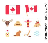 canada icons set in flat... | Shutterstock .eps vector #1066427699