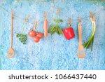 vegetables  old kitchen... | Shutterstock . vector #1066437440