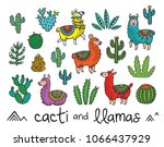 set of cacti and llamas. ideal... | Shutterstock .eps vector #1066437929