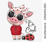 cool cartoon cute pig with sun... | Shutterstock .eps vector #1066441283