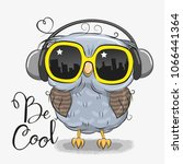cool cartoon cute owl with sun... | Shutterstock .eps vector #1066441364