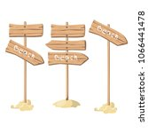 set of wooden signposts on the... | Shutterstock .eps vector #1066441478