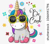 cute cartoon cute unicorn with... | Shutterstock .eps vector #1066441796