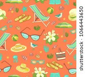 beach objects seamless pattern... | Shutterstock .eps vector #1066443650