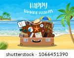 open baggage  luggage ... | Shutterstock .eps vector #1066451390