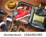prepare accessories and travel... | Shutterstock . vector #1066481480