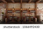 old wine cellar with table and...   Shutterstock . vector #1066492430
