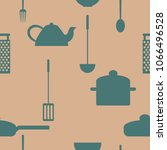 seamless pattern of kitchenware ... | Shutterstock .eps vector #1066496528