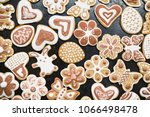 gingerbread  covered with white ... | Shutterstock . vector #1066498478