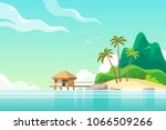 tropical island with bungalow... | Shutterstock .eps vector #1066509266