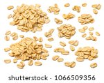 oatmeal flakes set isolated on... | Shutterstock . vector #1066509356