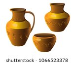 pot. a set of pottery. ethnic... | Shutterstock .eps vector #1066523378