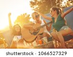 group of young female friends... | Shutterstock . vector #1066527329
