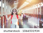happy woman tourists in the... | Shutterstock . vector #1066531934