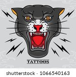 vector black panther tattoo old ... | Shutterstock .eps vector #1066540163