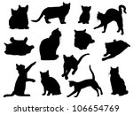 Stock vector set of vector cat silhouettes 106654769