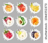 collection icons of fruit and... | Shutterstock .eps vector #1066552373