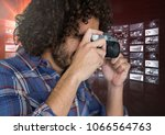 photograph taking picture with... | Shutterstock . vector #1066564763