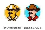 american cowboy  sheriff logo... | Shutterstock .eps vector #1066567376