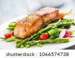 roasted salmon steak with...   Shutterstock . vector #1066574738