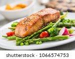 roasted salmon steak with... | Shutterstock . vector #1066574753