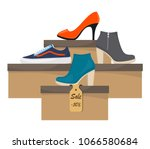 shoe boxes with woman s... | Shutterstock .eps vector #1066580684