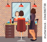 hairdresser and woman client in ...   Shutterstock .eps vector #1066580738