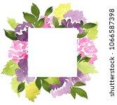 watercolor frame of dahlia... | Shutterstock . vector #1066587398
