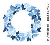 watercolor wreath of dahlia... | Shutterstock . vector #1066587410