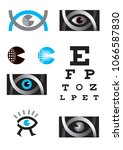 icons set with optician  eye... | Shutterstock .eps vector #1066587830