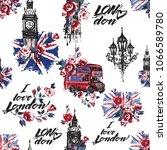 retro british seamless pattern... | Shutterstock .eps vector #1066589780