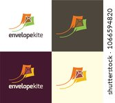 envelope kite logo and icon.... | Shutterstock .eps vector #1066594820